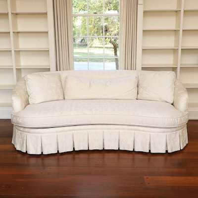 David A. Millett Damask Upholstered Sofa with Tailored Skirt