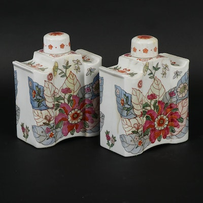 Chinese Export Style Tobacco Flower Porcelain Tea Caddies , 20th Century