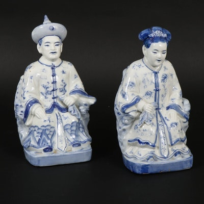 Chinese Style Blue and White Porcelain Figures, 20th Century
