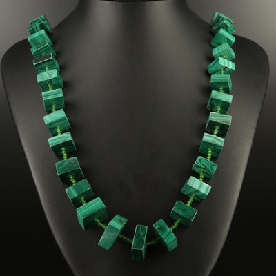 Endless Graduated Malachite and Green Glass Necklace