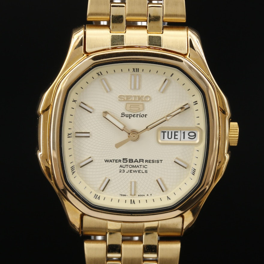 """Seiko """"5"""" Superior Automatic Wristwatch with Day/Date"""