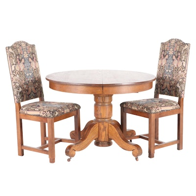 Oak Pedestal Dining Set with Leaf Insert, Early to Mid 20th Century
