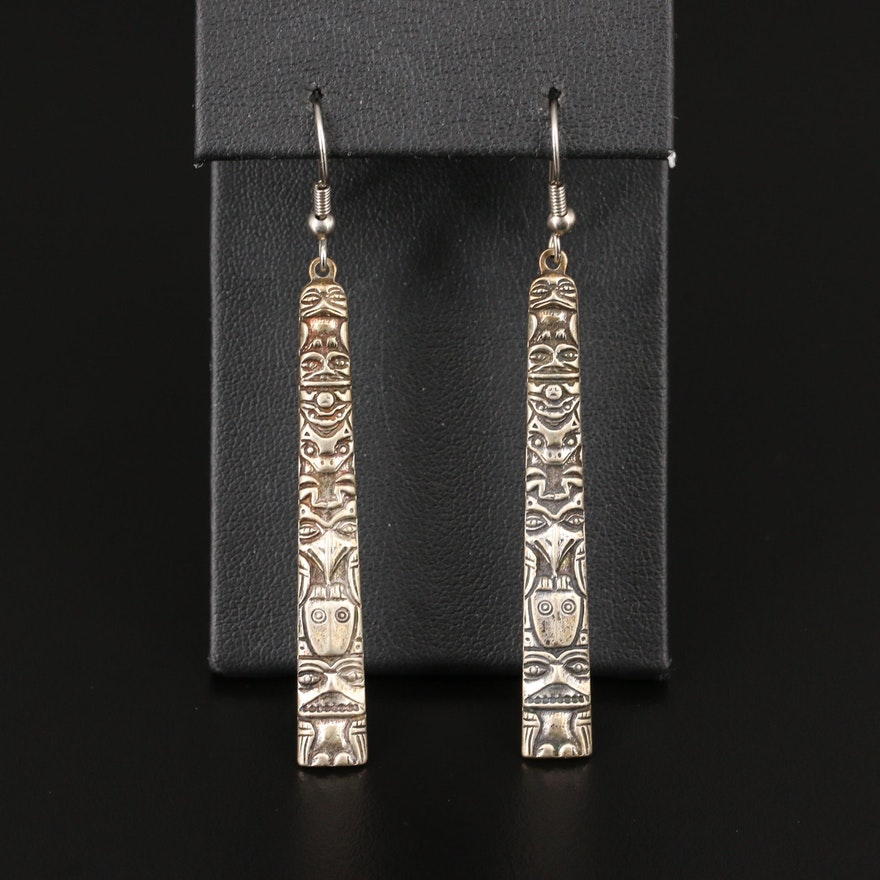 Sterling Silver Totem Pole Dangle Earrings