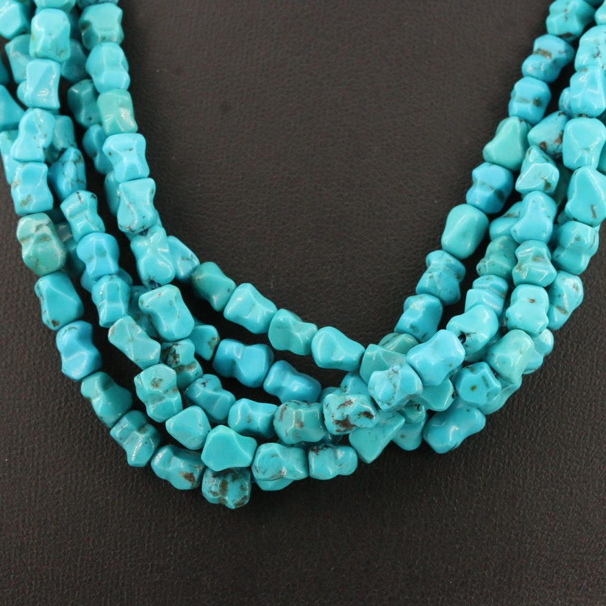 Sterling Silver Turquoise Multi-Strand Necklace
