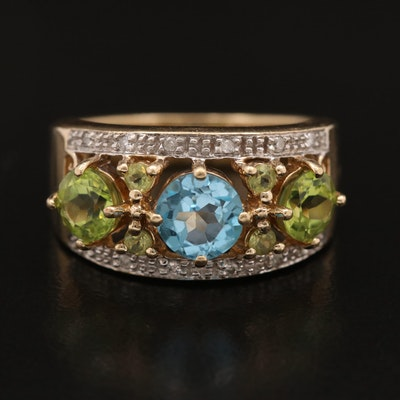 10K Topaz, Peridot and Diamond Ring with Openwork Design