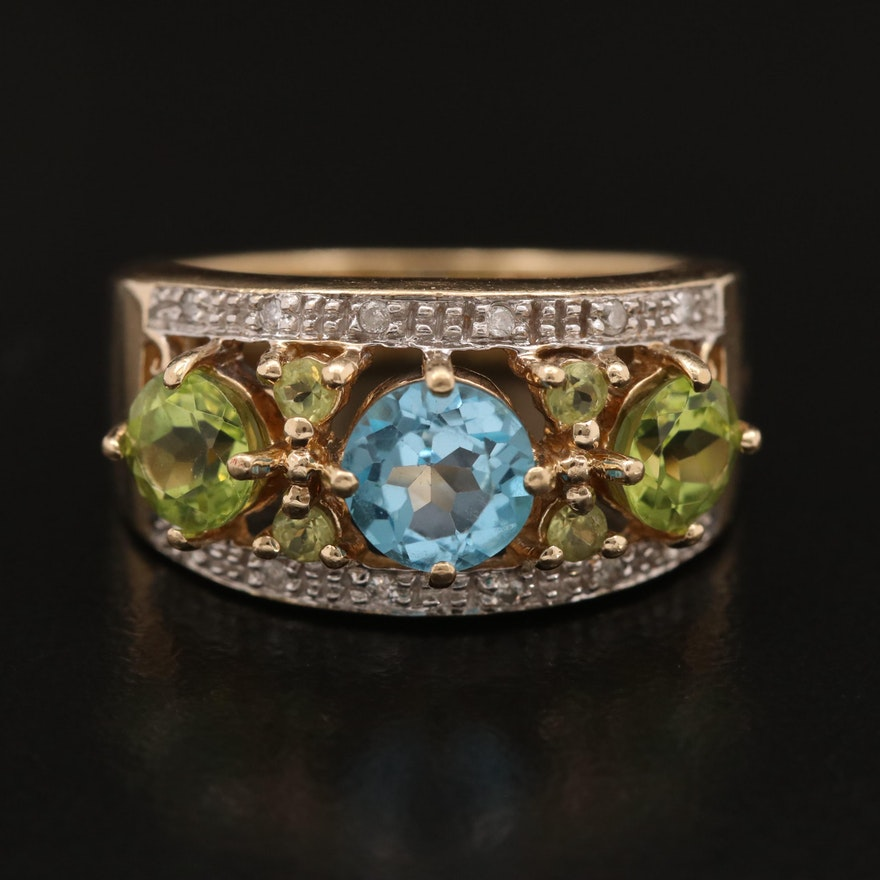10K Topaz, Peridot and Diamond Ring with Openwork Design