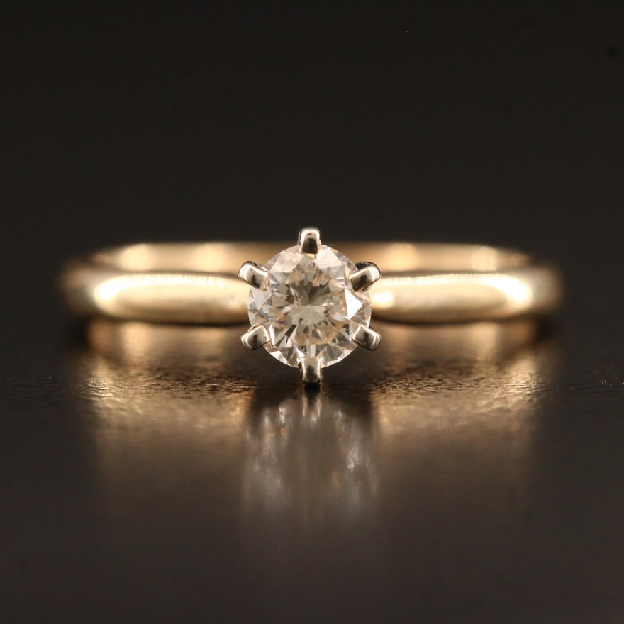 14K 0.31 CT Diamond Solitaire Ring