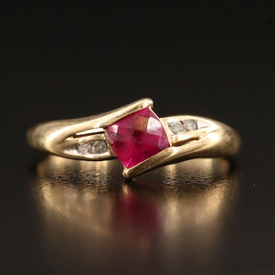 Vintage 10K Ruby and Diamond Bypass Ring