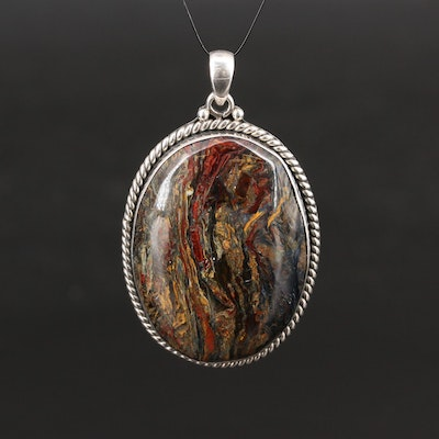 Sterling Silver Pietersite Oval Pendant