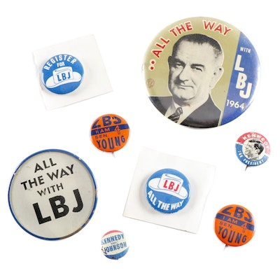 Kennedy and Johnson U.S. Presidential Campaign Pinbacks, 1960s
