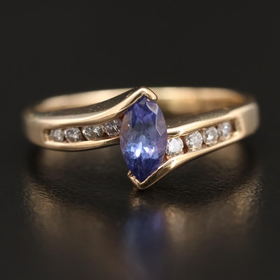 10K Tanzanite and Diamond Bypass Ring