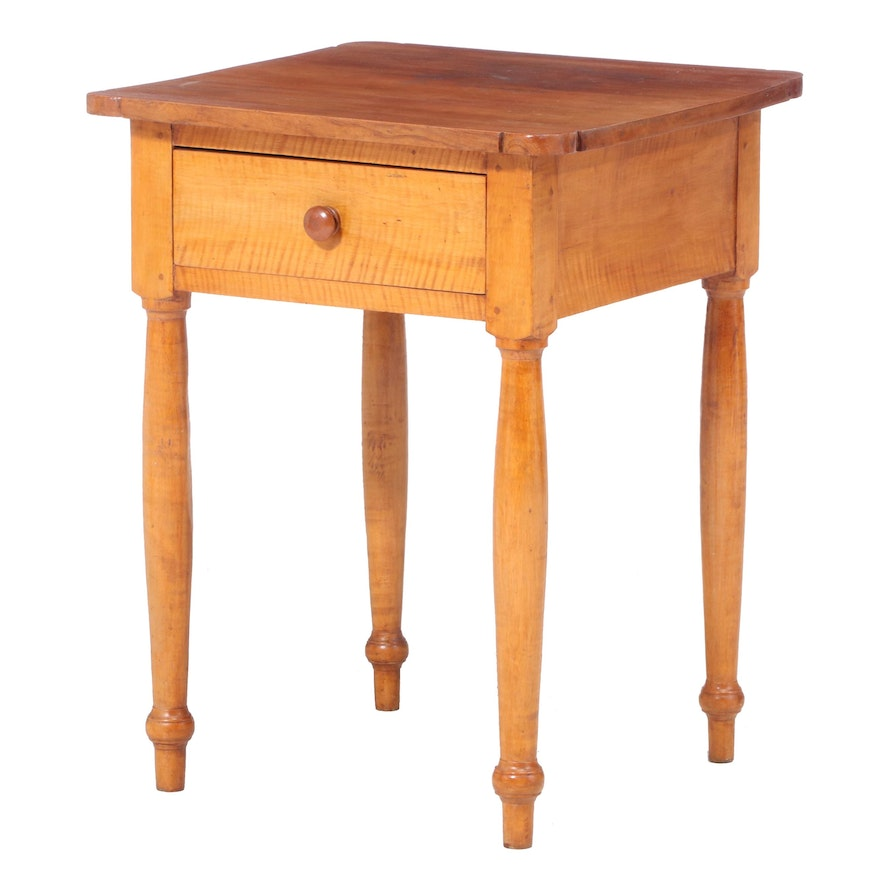 American Primitive Cherrywood and Tiger Maple Side Table, 19th Century