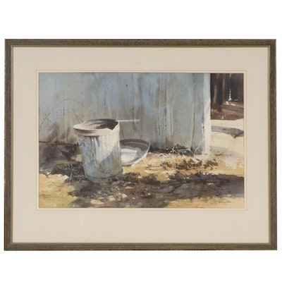 """Bob Brubaker Watercolor Painting """"Beside the Shed"""", 1971"""