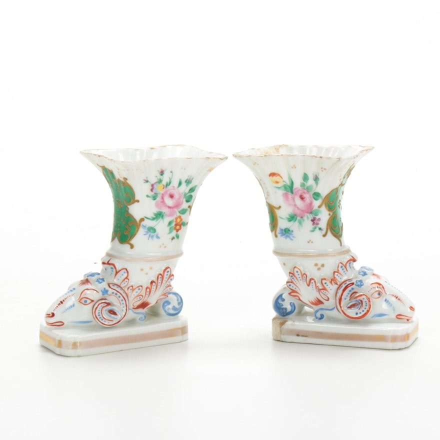 Pair of Rockingham England Porcelain Ram's Head Vases, Mid 19th-Century