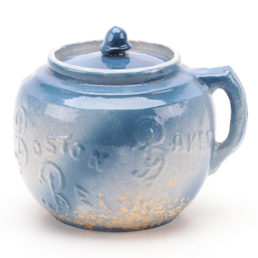 """Blue Salt Glaze """"Boston Baked Beans"""" Pot, Late 19th to Early 20th Century"""