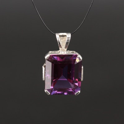 Sterling Silver Color Change Sapphire Pendant