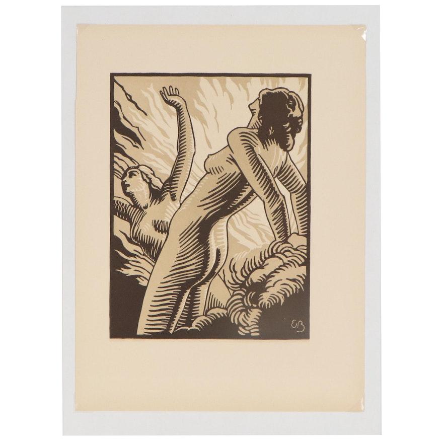 "E. Bracquemond Linocut for ""Femmes Damnées"" by Charles Baudelaire, 1946"