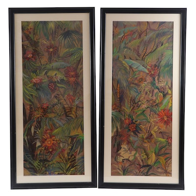 Pair of Acrylic Tropical Landscape Paintings