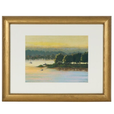 Marcus Brewer Pastel Drawing of Islet Landscape at Sunset
