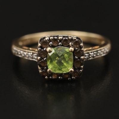 10K Peridot, Smoky Quartz and Diamond Ring