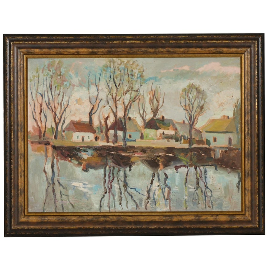 Fall Landscape Oil Painting, Early to Mid 20th Century
