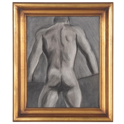 deSanto Charcoal Drawing of Male Figure