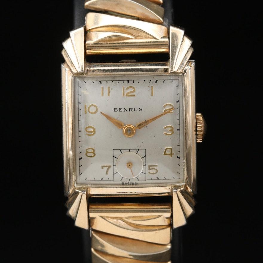 Vintage Benrus Fancy Stepped Lugs Gold Plate Stem Wind Wristwatch