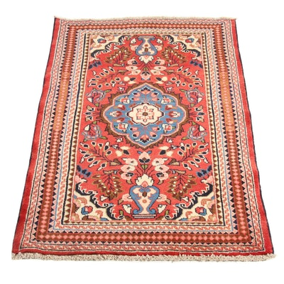 2'7 x 4'1 Hand-Knotted Persian Lilihan Rug, 1980s