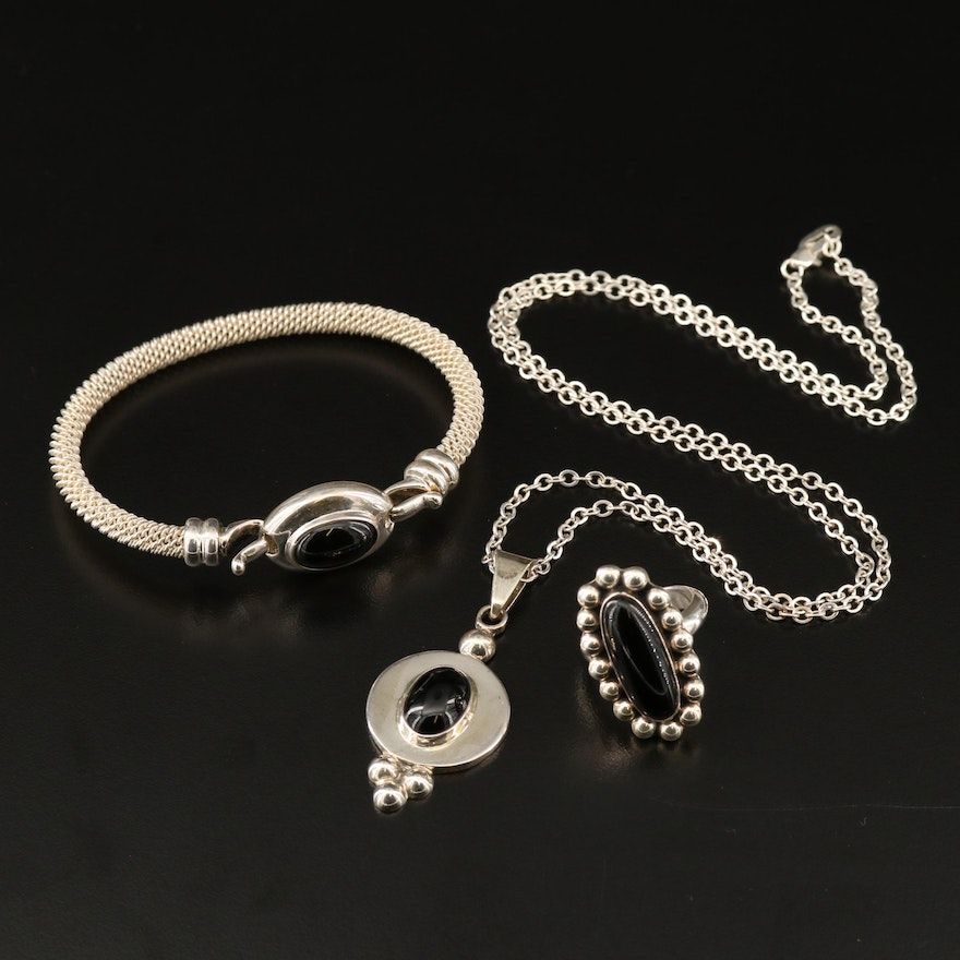 Joseph Esposito Mexican Sterling Black Onyx Necklace, Bangle and Ring