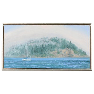 "Marcus Brewer Impressionist Style Oil Painting ""Bar Harbor Mist"""