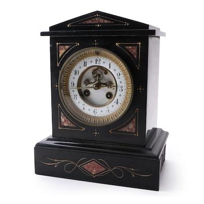 Samuel Marti et Cei Slate and Marble Mantel Clock, Late 19th Century