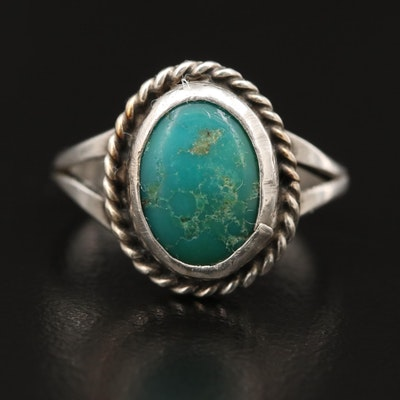 Western Style Sterling Silver Turquoise Ring