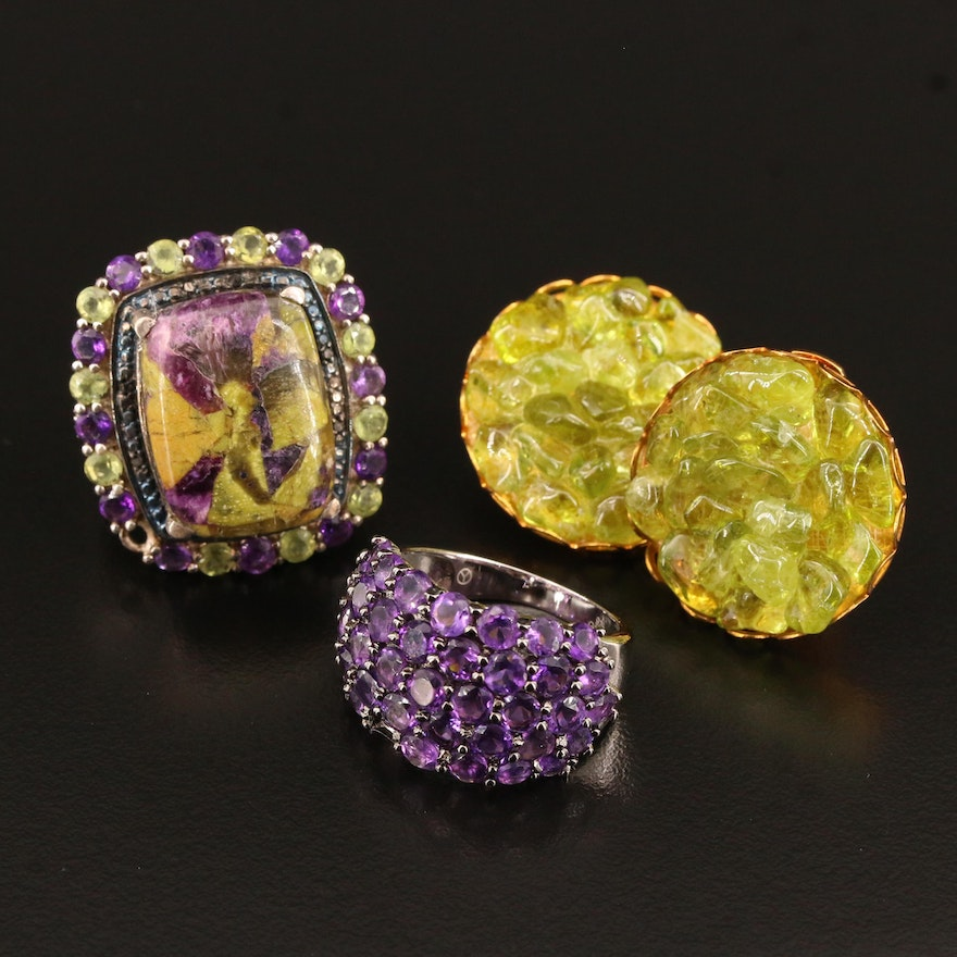 Sterling Silver Rings and Earrings Featuring Peridot, Amethyst and Atlantasite