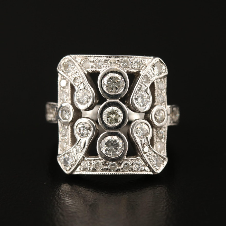 Vintage 14K 1.02 CTW Diamond Ring
