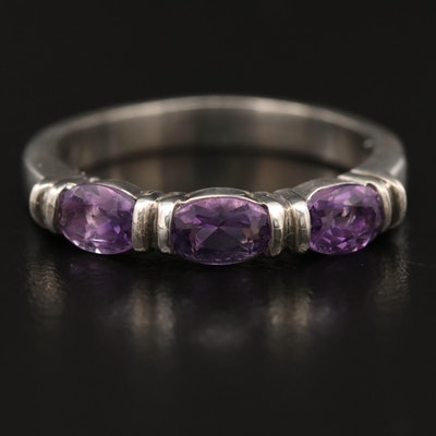 Sterling Silver Three Stone Amethyst Ring