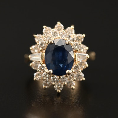 14K 4.41 CT Sapphire and 1.42 CTW Diamond Ring with Finger Fit Shank