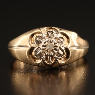 10K Diamond Ring Featuring Floral Motif