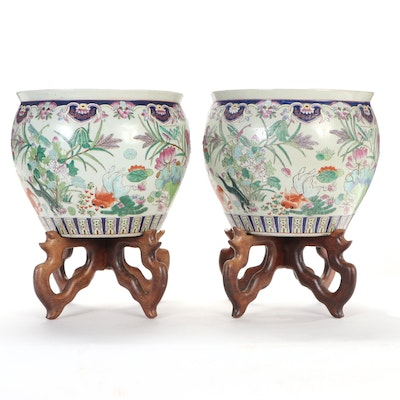 Chinese Ceramic Goldfish Bowl Planters with Stands