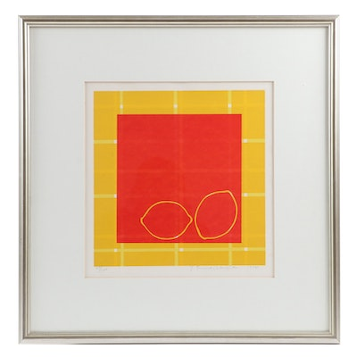 "Yoshisuke Funasaka Lithograph ""Lemon-Orange"", 1976"