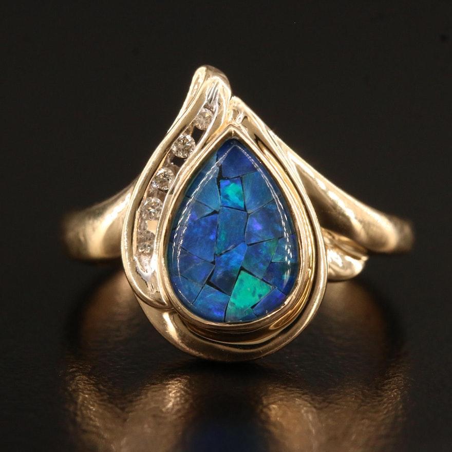 10K Opal Mosaic Teardrop Ring with Diamonds
