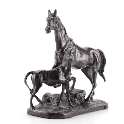 Equestrian Bronze Sculpture in the Style of Pierre Jules Mene