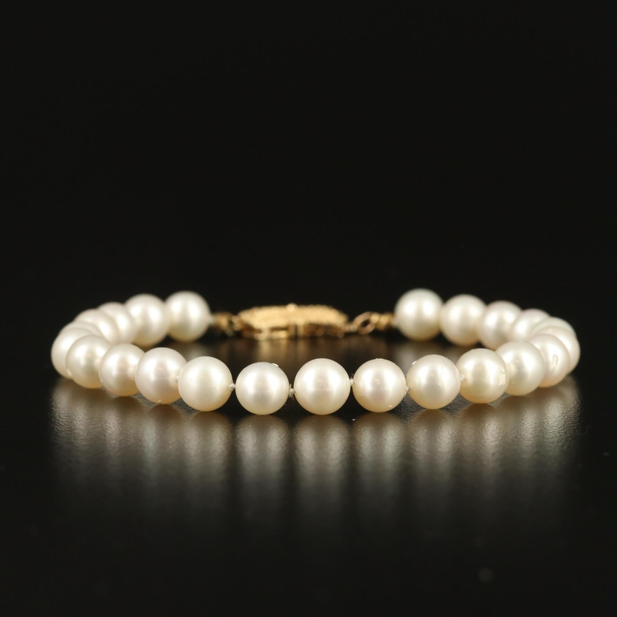 Pearl Bracelet with 14K Bow Clasp