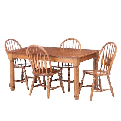 Oak Dining Set with Arrow Back Chairs and Leaf Insert