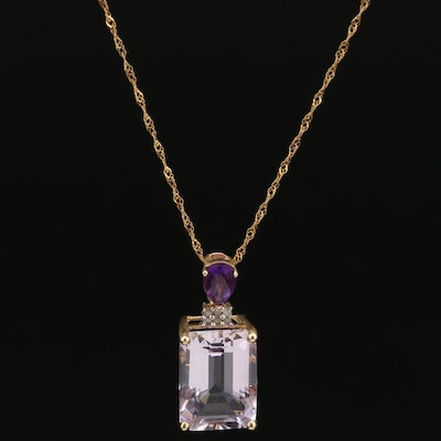 14K Amethyst and Diamond Pendant on 10K Necklace
