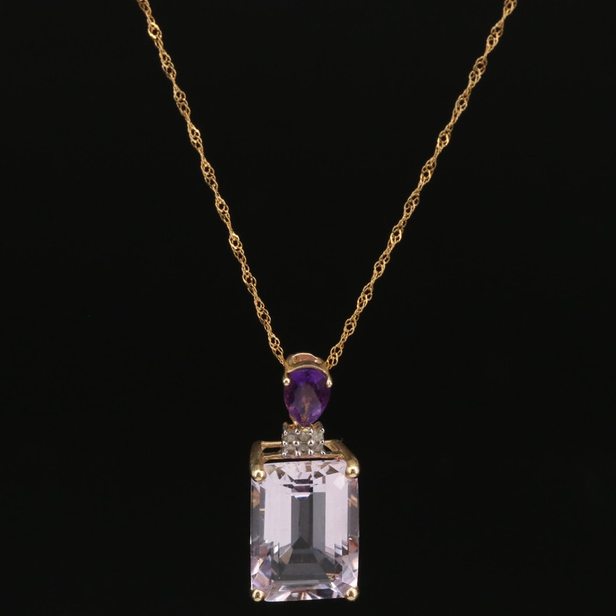 14K Amethyst and Diamond Pendant on 10K Necklace