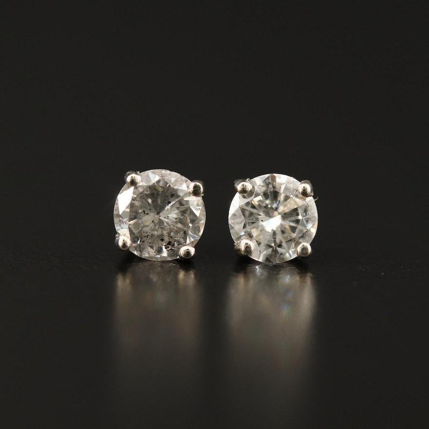 14K 1.00 CTW Diamond Solitaire Stud Earrings
