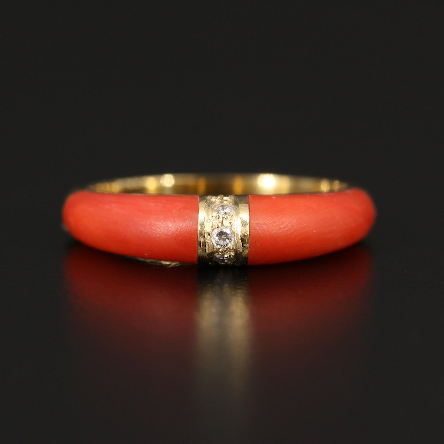 18K Diamond and Coral Ring