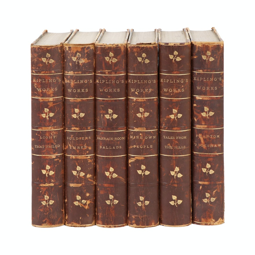 "Leather Bound ""Kipling's Works"" Six-Volume Set, Late 19th/Early 20th Century"