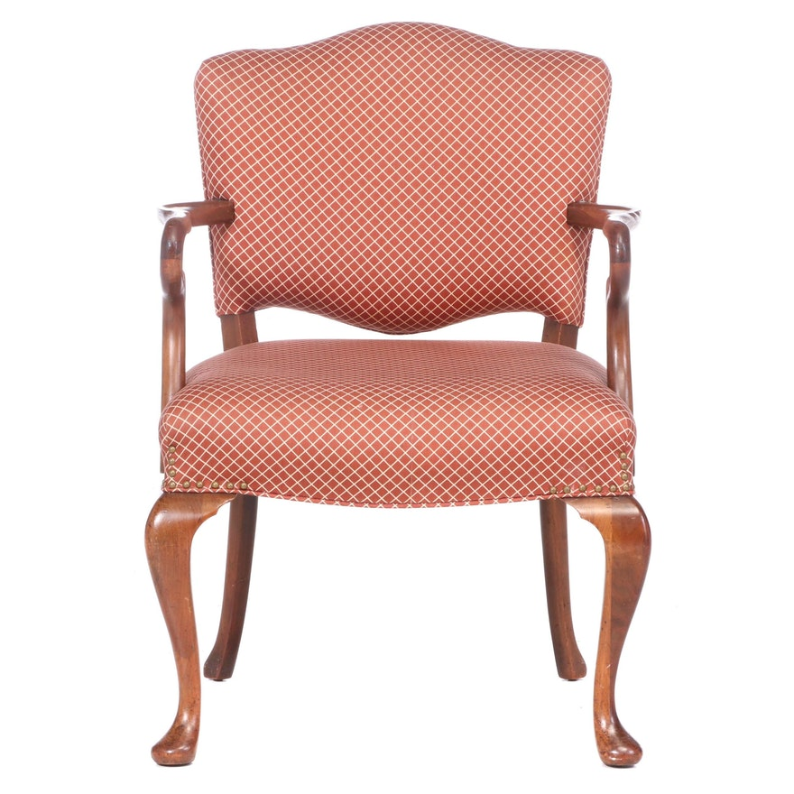 Queen Anne Style Upholstered Mahogany Armchair, 20th Century