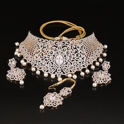Indian Bridal Set Including Maang Tikka Hair Ornament